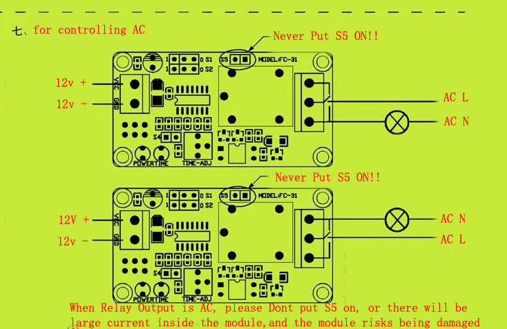 Dc 12v Power Supply Normal Open Trigger Delay Time Relay Pcb Module